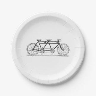 Bicyclette vintage construite pour deux/vélo assiettes en papier