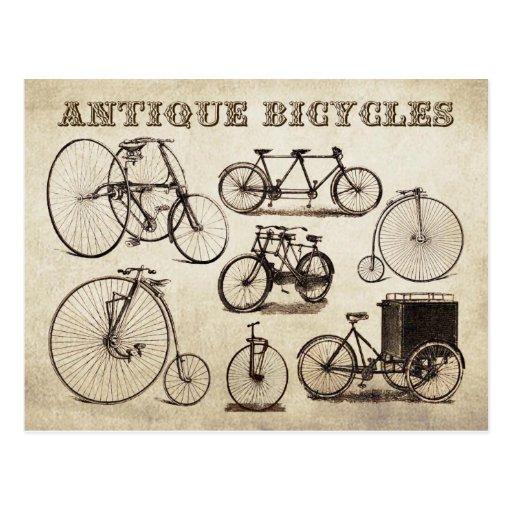 Bicyclettes antiques (vélos sur rail) carte postale