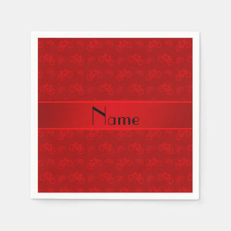 Bicyclettes rouges nommées personnalisées serviettes en papier
