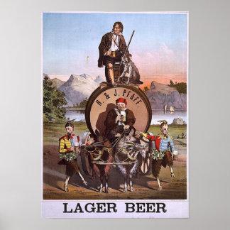 Bière blonde de H et de J Pfaff Poster