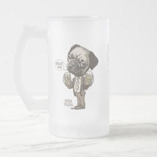 Bière je carlin par des studios de Mudge Frosted Glass Beer Mug