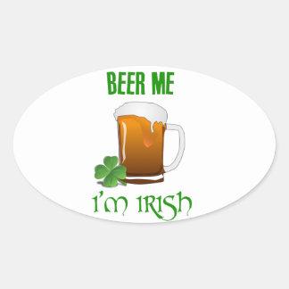Bière je je suis irlandais sticker ovale