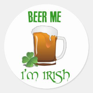 Bière je je suis irlandais sticker rond