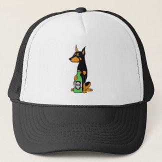 Bière potable de dobermann de chien drôle de casquette