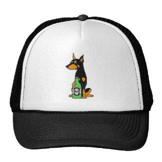 Bière potable de dobermann de chien drôle de casquette trucker