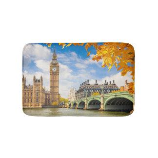 Big Ben avec le feuille d'automne, Londres Tapis De Bain