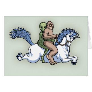 Bigfoot, alien, licorne carte de vœux