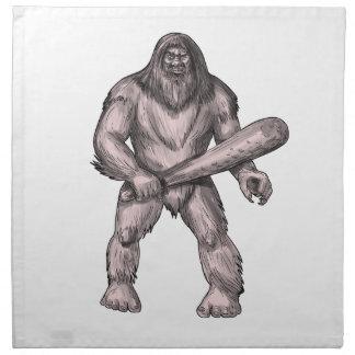 Bigfoot tenant le tatouage de position de club serviette