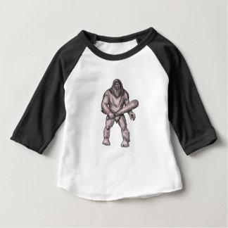 Bigfoot tenant le tatouage de position de club t-shirt pour bébé