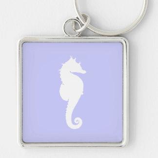 Bigorneau et cheval de mer blanche porte-clé carré argenté