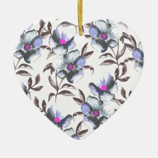 Bigorneau et motif floral de Fuscia Ornement Cœur En Céramique