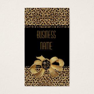 Bijou animal d'arc d'or de léopard noir de carte