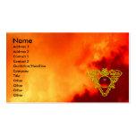 Bijou CELTIQUE d'or de COEUR/rubis jaune et rouge Cartes De Visite Personnelles