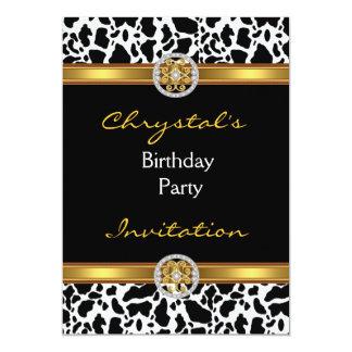 Bijou d'or de vache à fêtard d'anniversaire carton d'invitation  12,7 cm x 17,78 cm