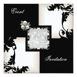 Bijou floral blanc noir élégant de perle de invitations personnalisées