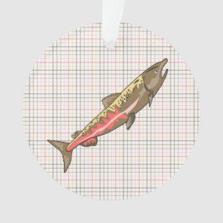 Bijoux - pendentif - saumon chinook sur le plaid