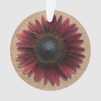 Bijoux - pendentif - tournesol de toile de jute et