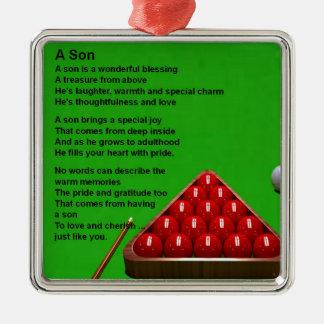 Billard - poème de fils ornement carré argenté