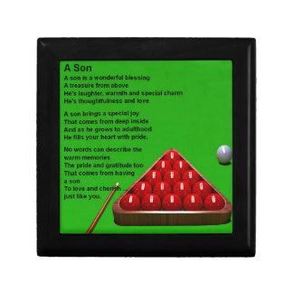 Billard - poème de fils petite boîte à bijoux carrée