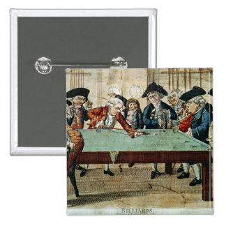 Billards, gravure à l'eau-forte du 18ème siècle pa badges