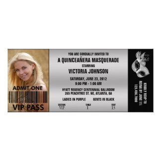 Billet d'admission de la mascarade VIP de Quinceañ Bristols Personnalisés