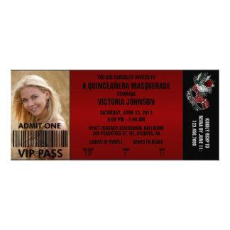 Billet d'admission de la mascarade VIP de Quinceañ Invitations Personnalisables