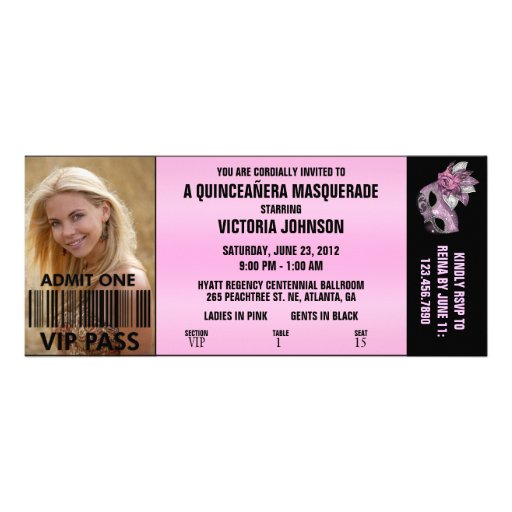 Billet d'admission de la mascarade VIP de Quinceañ Faire-parts