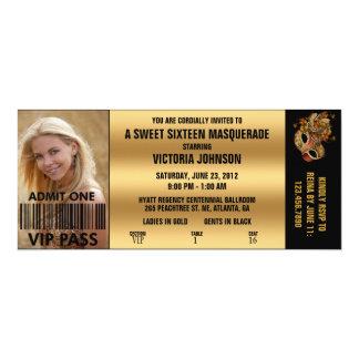 Billet d'admission de la mascarade VIP de sweet Carton D'invitation 10,16 Cm X 23,49 Cm