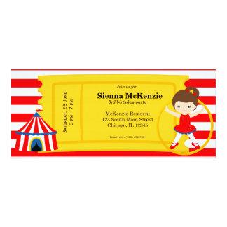 Billet d'anniversaire de cirque carton d'invitation  10,16 cm x 23,49 cm