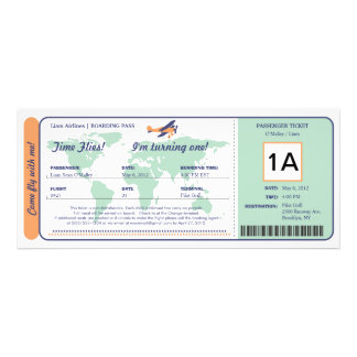 Billet de carte d'embarquement d'anniversaire de c cartons d'invitation personnalisés