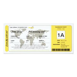 Billet de carte d'embarquement d'anniversaire de carton d'invitation  10,16 cm x 23,49 cm