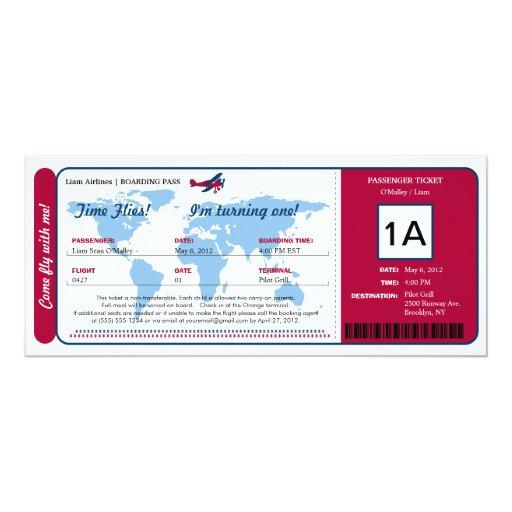 Billet de carte d 39 embarquement d 39 anniversaire de carton d - Modele billet avion a imprimer ...