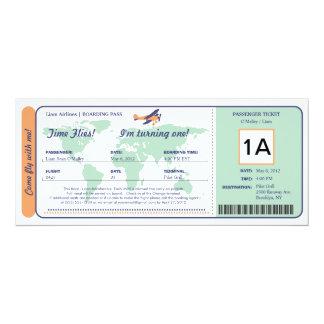 Billet de carte d'embarquement d'anniversaire de cartons d'invitation personnalisés
