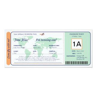 Billet de carte d'embarquement d'anniversaire de invitations personnalisées