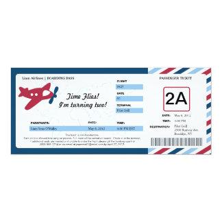 Billet de carte d'embarquement d'anniversaire carton d'invitation  10,16 cm x 23,49 cm