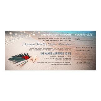Billet de carte d'embarquement de mariage de carton d'invitation  10,16 cm x 23,49 cm