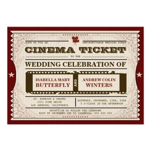Billet de cinéma - faire-part de mariage