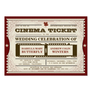 Billet de cinéma - faire-part de mariage carton d'invitation  12,7 cm x 17,78 cm