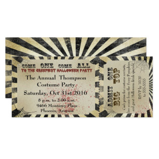 Billet de cirque d'invitation de partie de carton d'invitation  10,16 cm x 23,49 cm