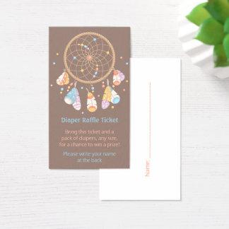 Billet de tombola de couche-culotte de baby shower cartes de visite