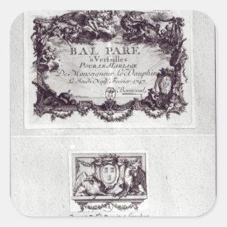 Billet d'entrée pour la boule à Versailles Sticker Carré