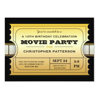 Billet d'or d'admission de fête d'anniversaire de carton d'invitation  12,7 cm x 17,78 cm