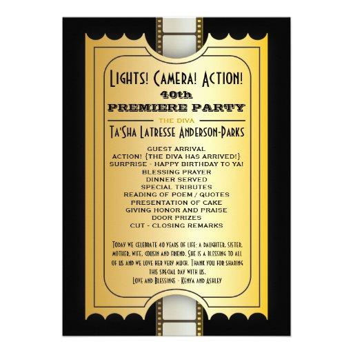 Billet d'or d'admission de programme de partie de  invitations personnalisables
