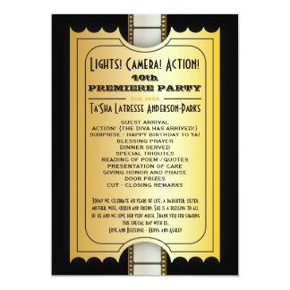 Billet d'or d'admission de programme de partie de carton d'invitation  12,7 cm x 17,78 cm