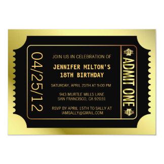 Billet d'or de film invitation personnalisable