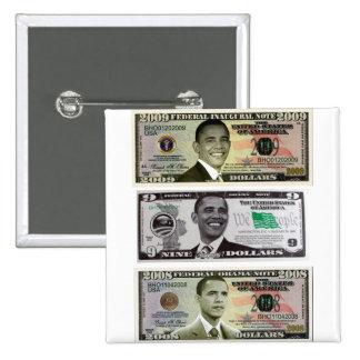 billet d'un dollar obama 9 badge carré 5 cm