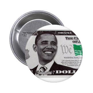 billet d'un dollar obama 9 badge rond 5 cm