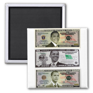 billet d'un dollar obama 9 magnet carré