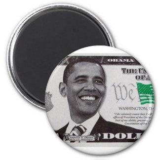 billet d'un dollar obama 9 magnet rond 8 cm