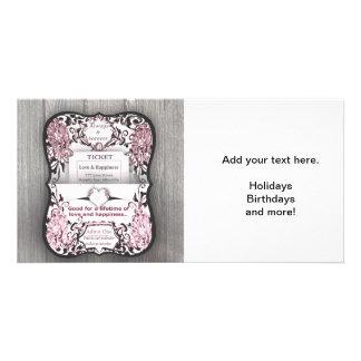 Billet rose rustique à l'amour photocarte customisée